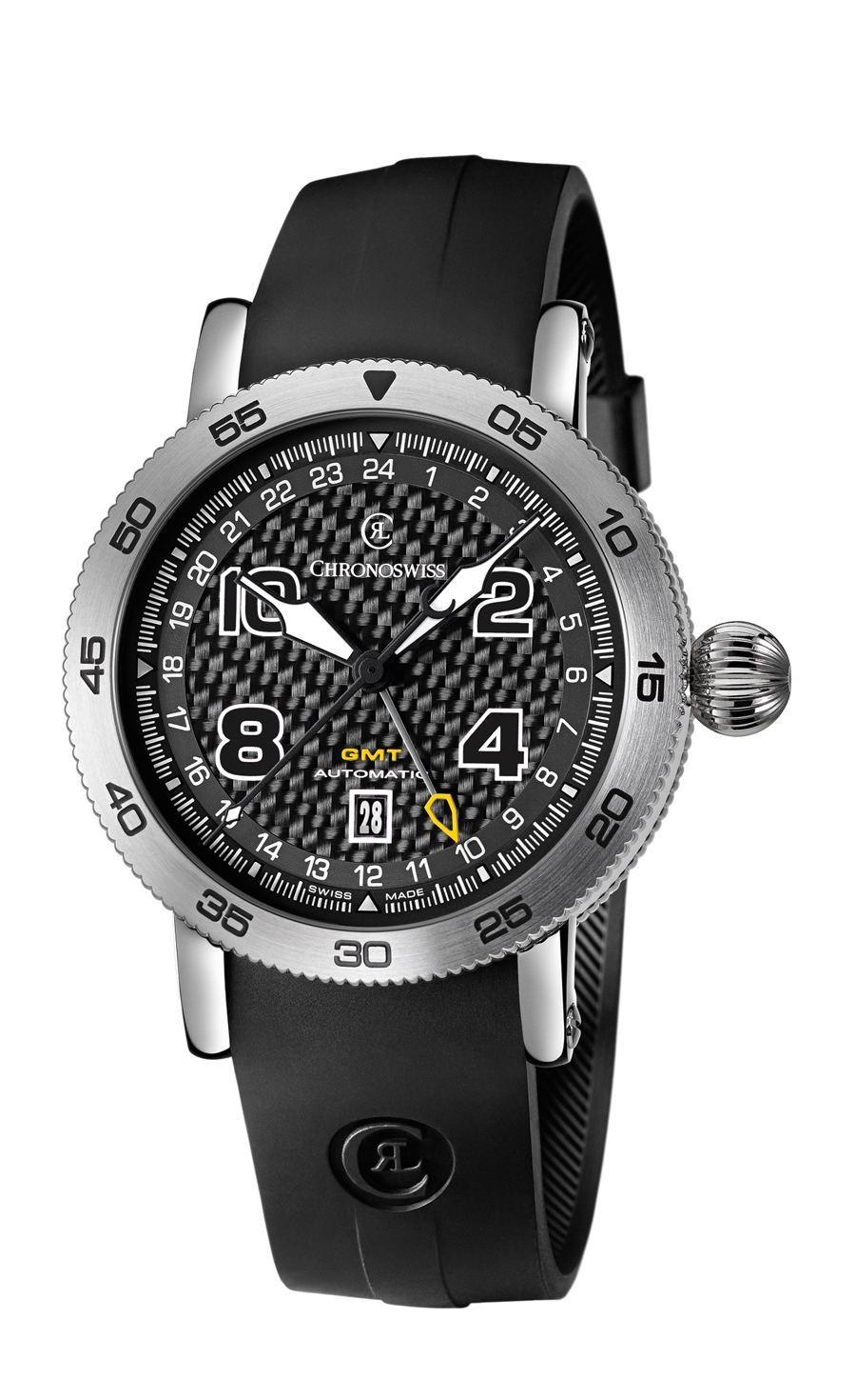 Chronoswiss: Timemaster GMT, Carbon-Zifferblatt und Kautschukband