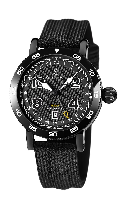 Chronoswiss: Timemaster GMT, mit DLC-Beschichtung, Carbon-Zifferblatt und Textilband