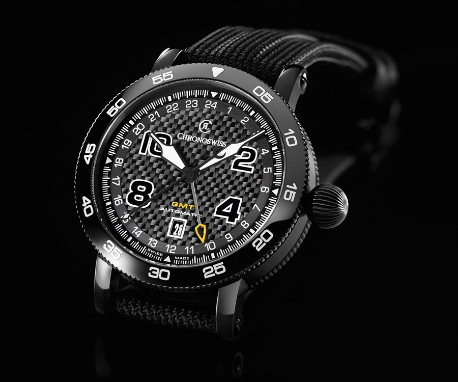 Chronoswiss: Timemaster GMT, DLC-beschichtet, Zifferblatt Carbon