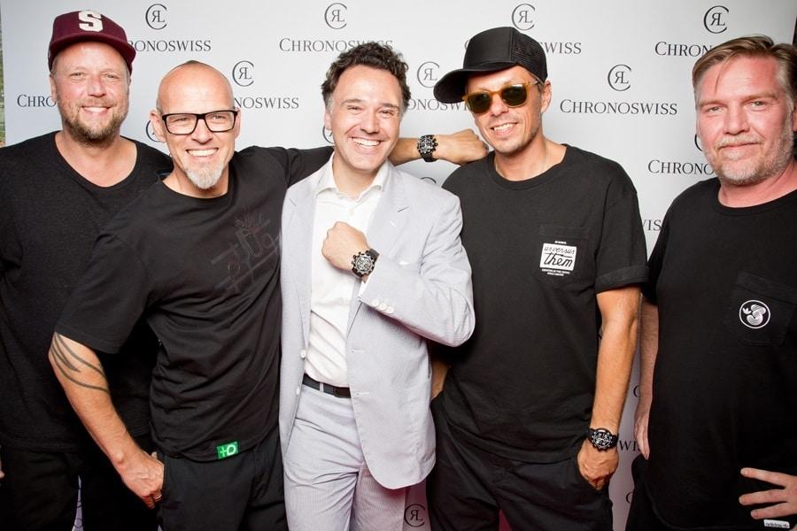 Chronoswiss-Inhaber Oliver Ebstein (Mitte) und Die Fantastischen Vier