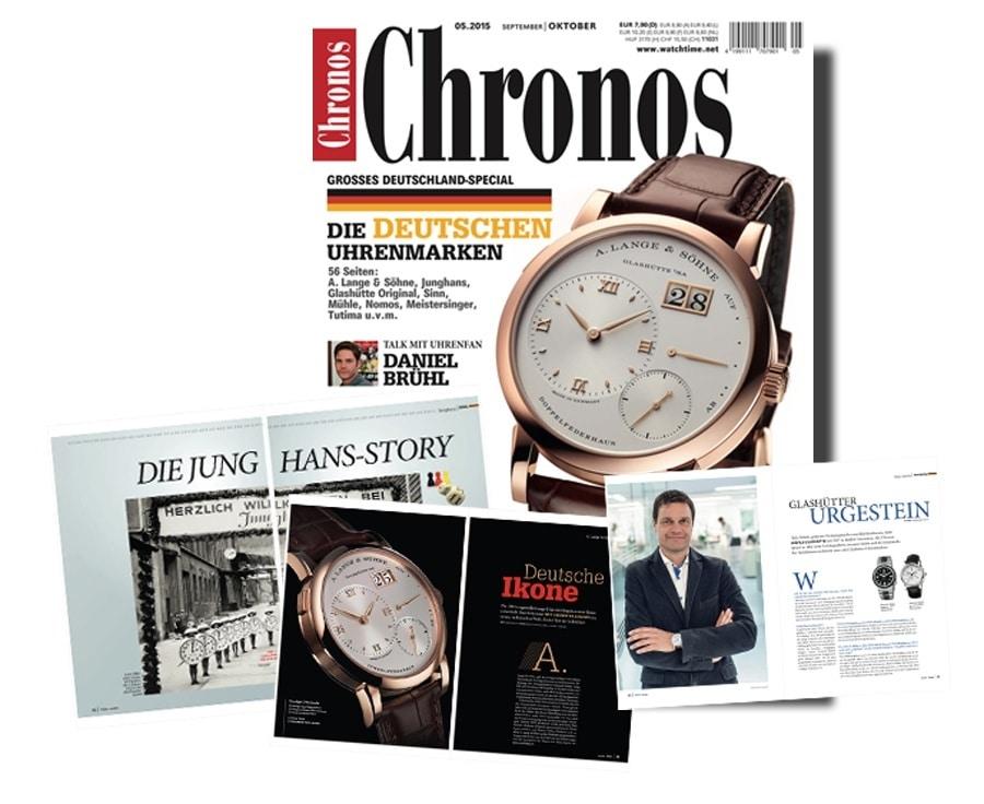 Chronos 5.2015 mit 56 Seiten über deutsche Uhrenmarken