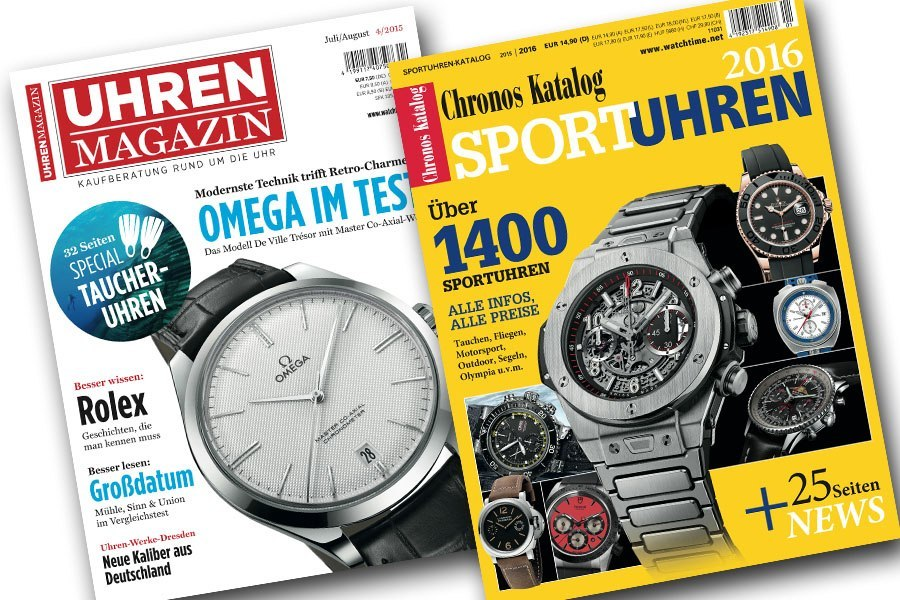 Dritter bis Zehnter Preis der Taucheruhren-Wahl 2015: Die UHREN-MAGAZIN -Ausgabe Juli/August mit Taucheruhren-Special und den Chronos-Sportuhrenkatalag im Wert von 22,40 Euro.