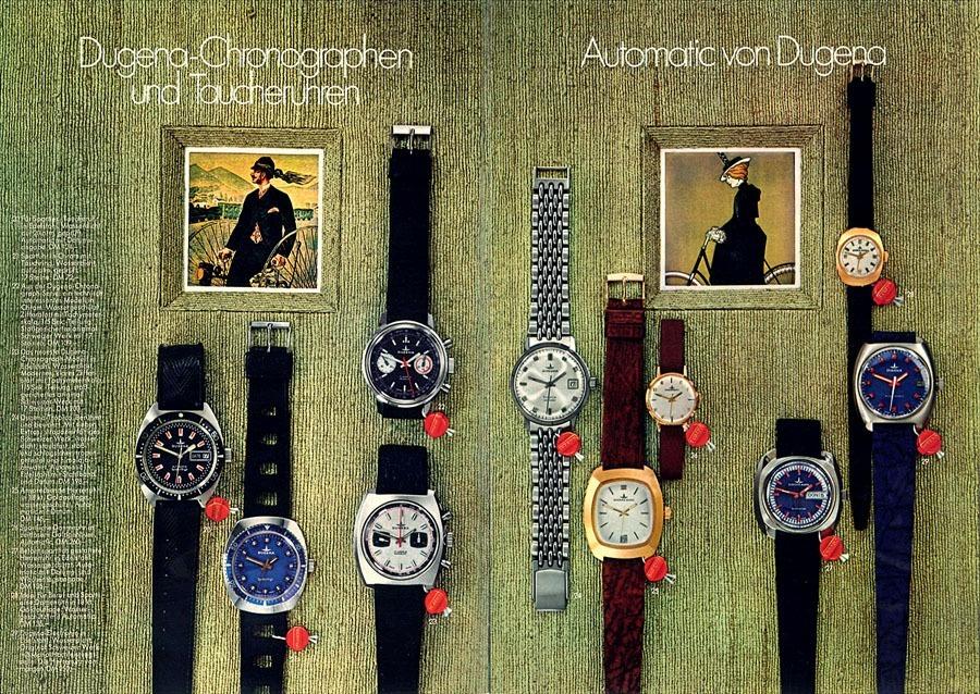 Dugena-Uhren in einer historischen Broschüre