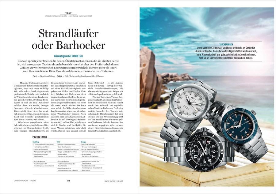 Vergleichstest Taucheruhren: Breitling, IWC und Omega