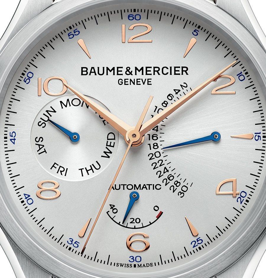 Beispiel für eine Uhr mit Zeigerdatum: Baume & Mercier Clifton mit retrograder Datumsanzeige