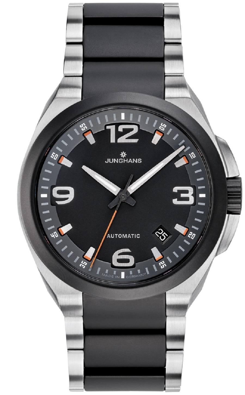 Junghans: Spektrum Automatic, orangener Sekundenzeiger, Edelstahlband mit Kautschukmittelteil