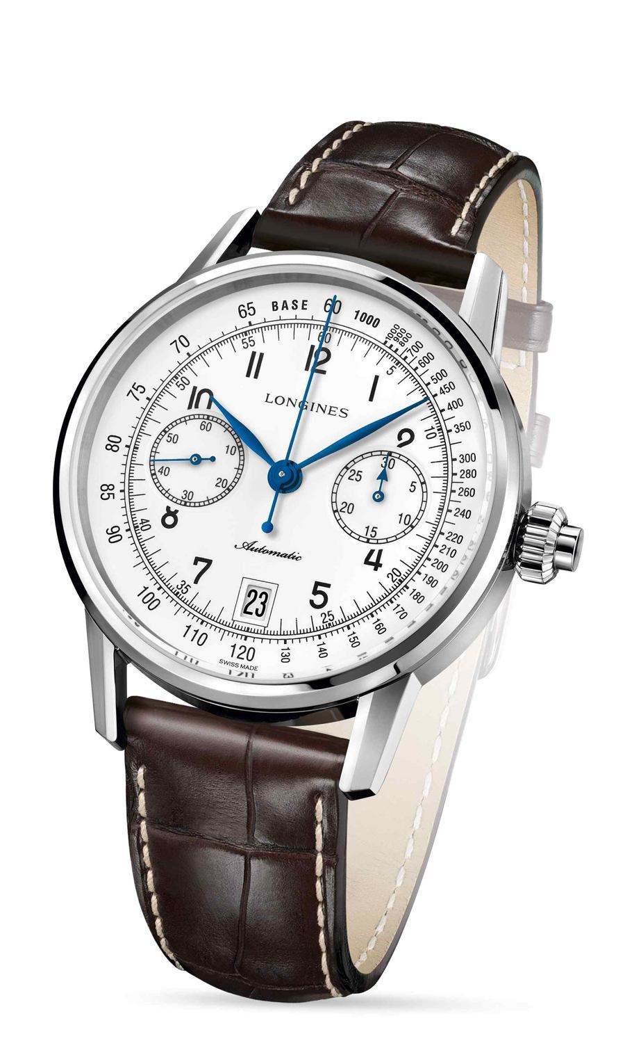 Longines: The Longines Column-Wheel Single Push-Piece Chronograph in Weiß