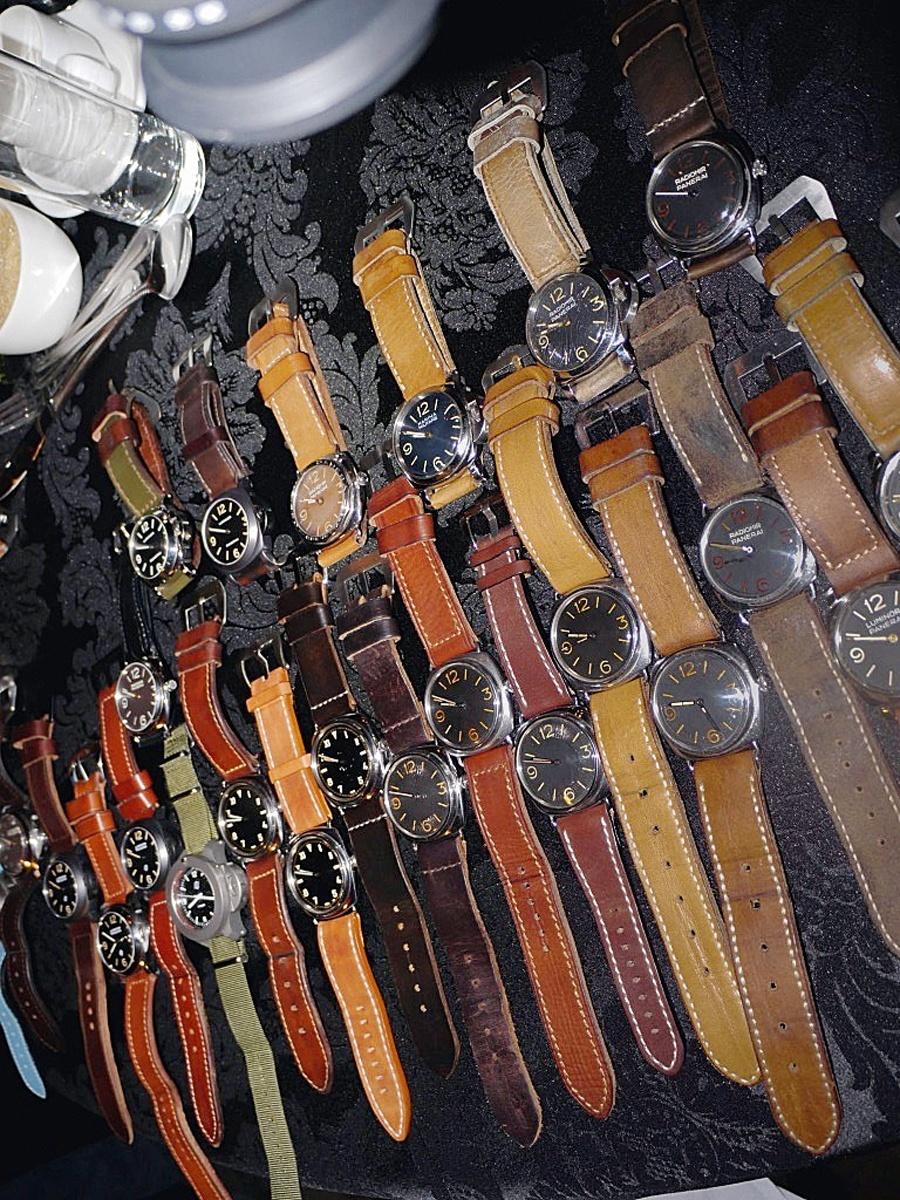 Table Shot: Zum Abschluss jedes Paneristi-Treffens kommen alle Uhren auf den Tisch.