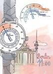 Die Einzeigeruhr MeisterSinger Adhaesio zeigt zwei Zeitzonen und ein Datum.