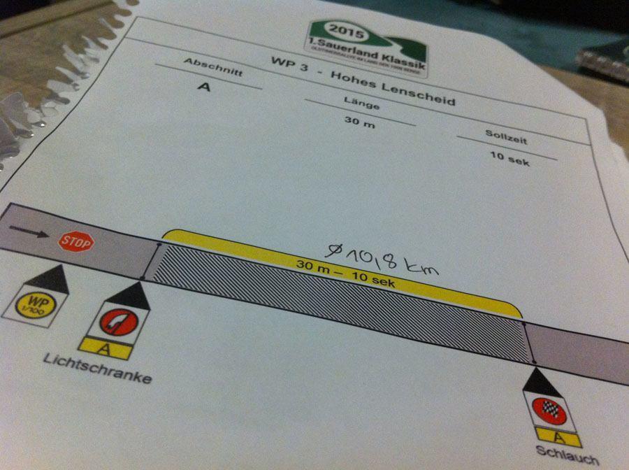 Oldtimer-Rallye, 1. Sauerland Klassik: Auch die verschiedenen Messmethoden spielen bei einer Wertungsprüfung eine große Rolle - unabhängig ob es sich um eine kurze oder lange Strecke handelt.
