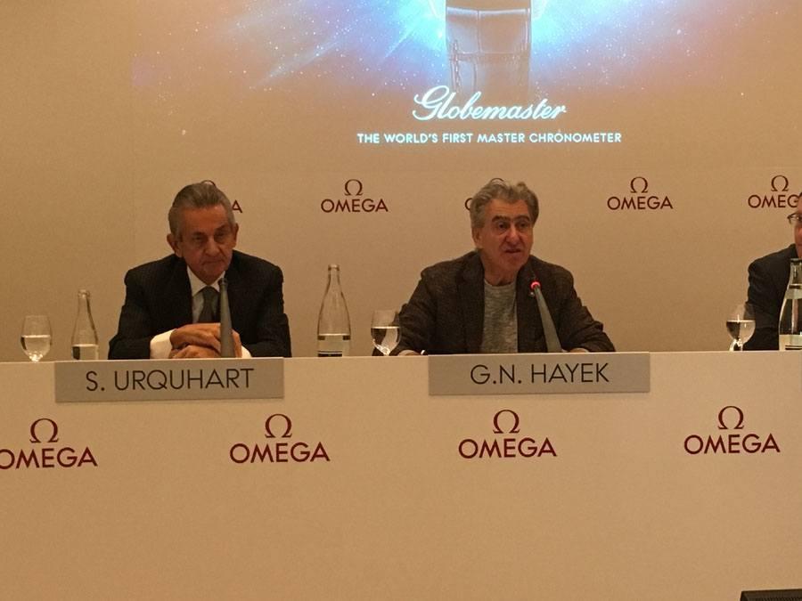 Omega-Präsident Stephen Urquhart und Swatch-Group-Chef Nick Hayek