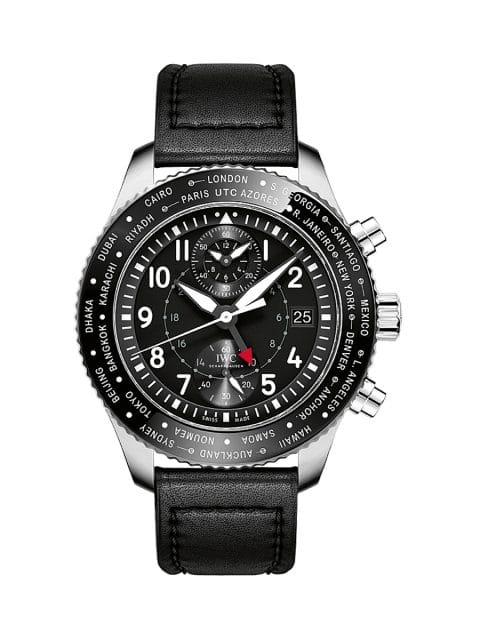 IWC Pilot's Watch Timezoner Chronograph: Mithilfe der beidseitig drehbaren Lünette lässt sich die Weltzeitfunktion einstellen.