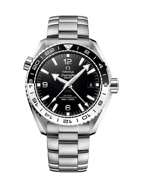 Einseitig drehbare Lünette zur Einstellung der zweiten Zeitzone: Omega Seamaster Planet Ocean Master Chronograph GMT (7.000 Euro)