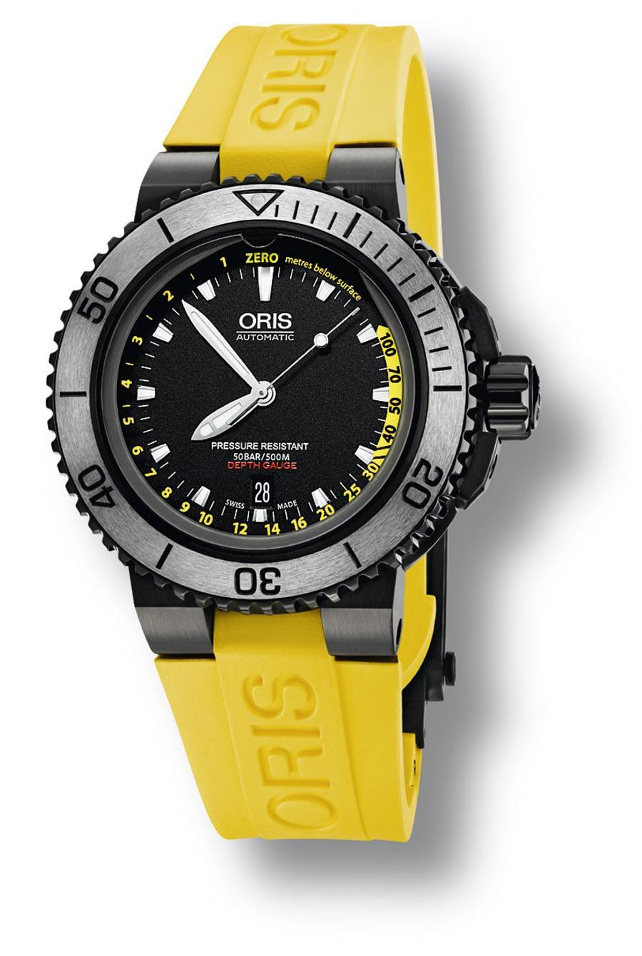Oris: Aquis Depth Gauge Yellow