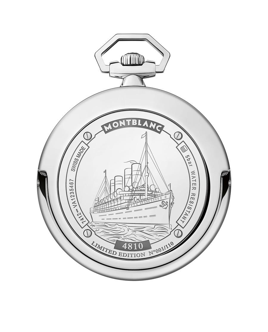 Montblanc: 4810 Orbis Terrarum Pocket Watch 110 Years Edition Gehäuserückseite
