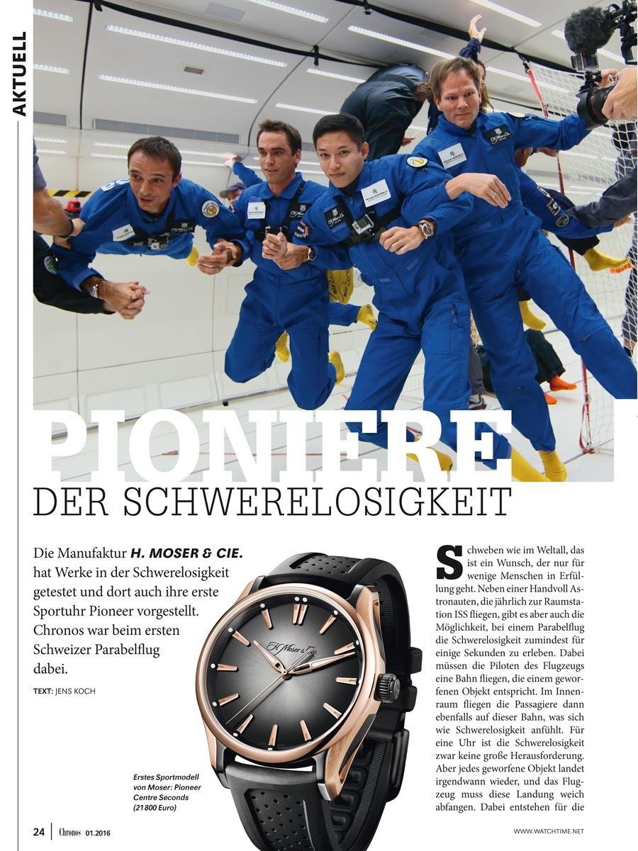 H. Moser & Cie. in der Chronos-Ausgabe 01.2016