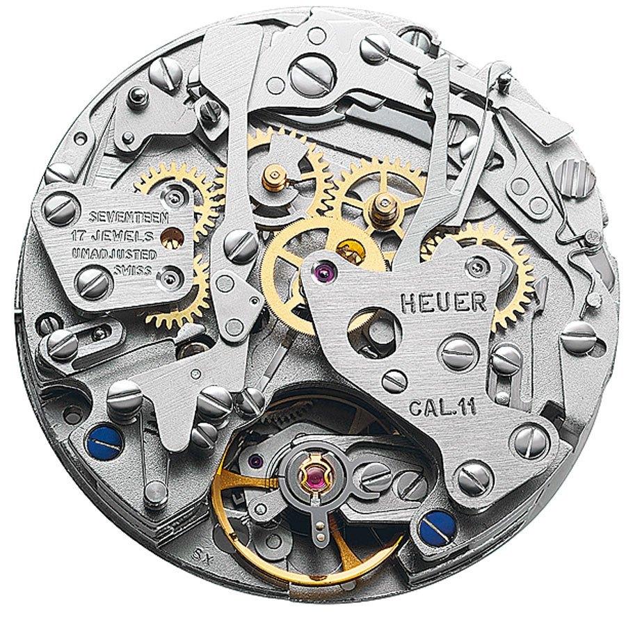 Unsichtbar: Beim Kaliber 11 in der Heuer Monaco und der Breitling Chrono-Matic saß der Mikrorotor unter dem Chronographenmodul