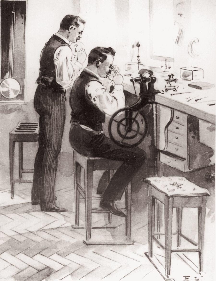 Das Verlagssystem: Die ausgebildeten Uhrmacher machten sich selbstständig und dienten als Zulieferer