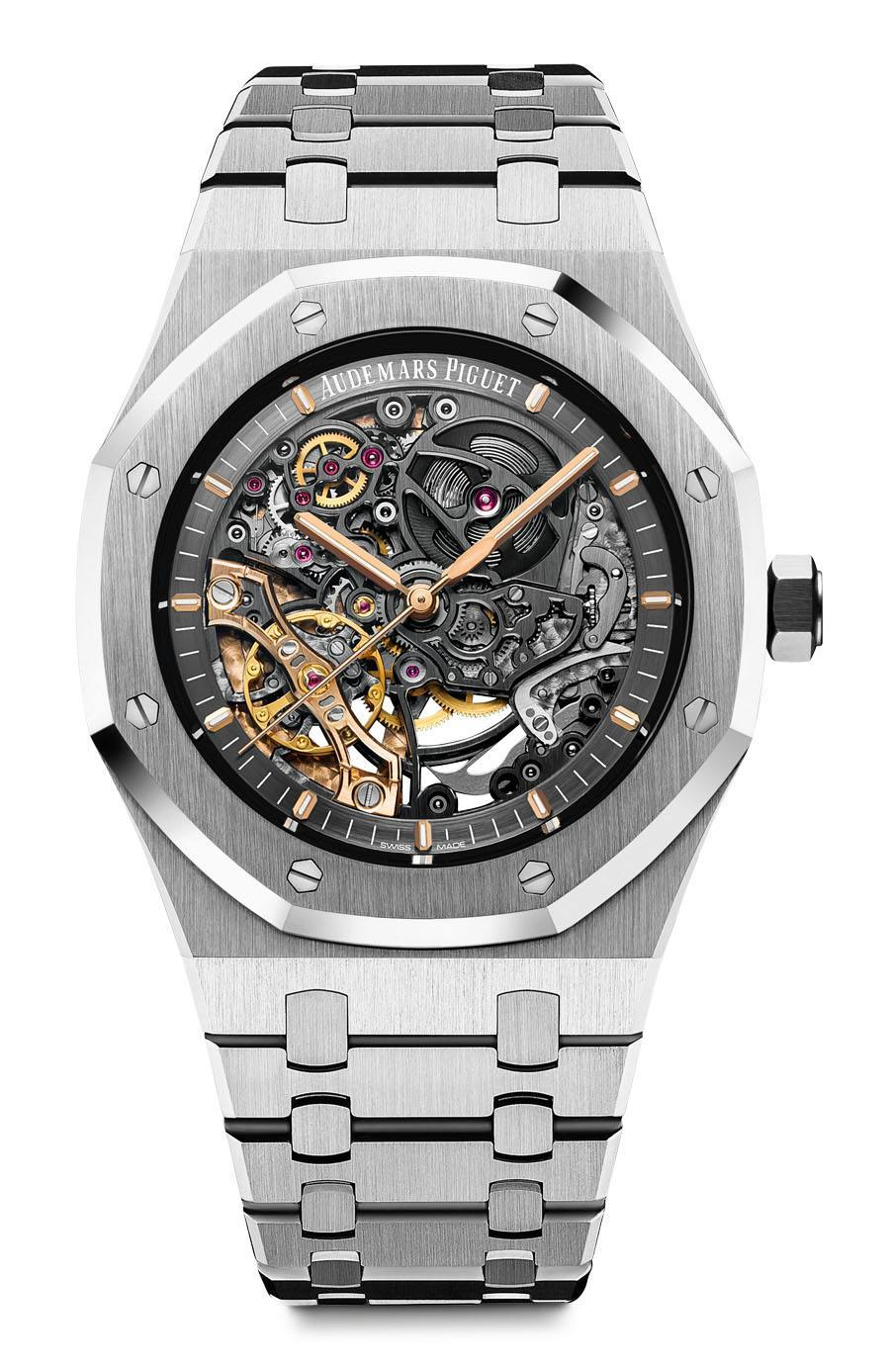 Audemars Piguet: Royal Oak Double Balance Wheel Openworked in Edelstahl