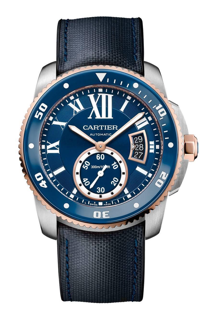 Cartier: Calibre de Cartier Diver Blue in Rotgold und Edelstahl