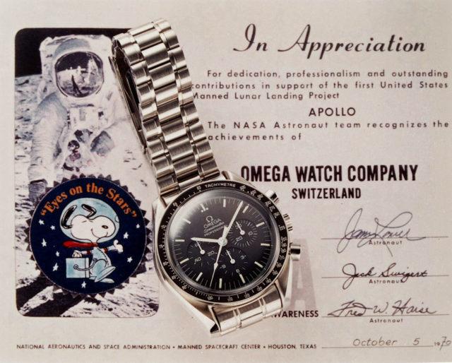 Auszeichnung für Omega: 1970 verlieh die NASA den Snoopy Award an Omega für herausragende Leistungen