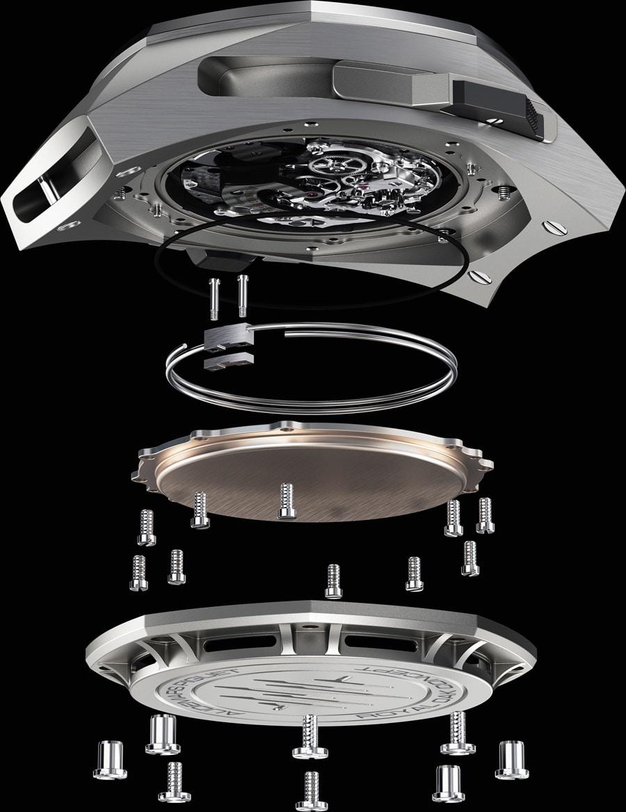 Audemars Piguet: Royal Oak Concept Supersonnerie, Aufbau des Gehäusebodens
