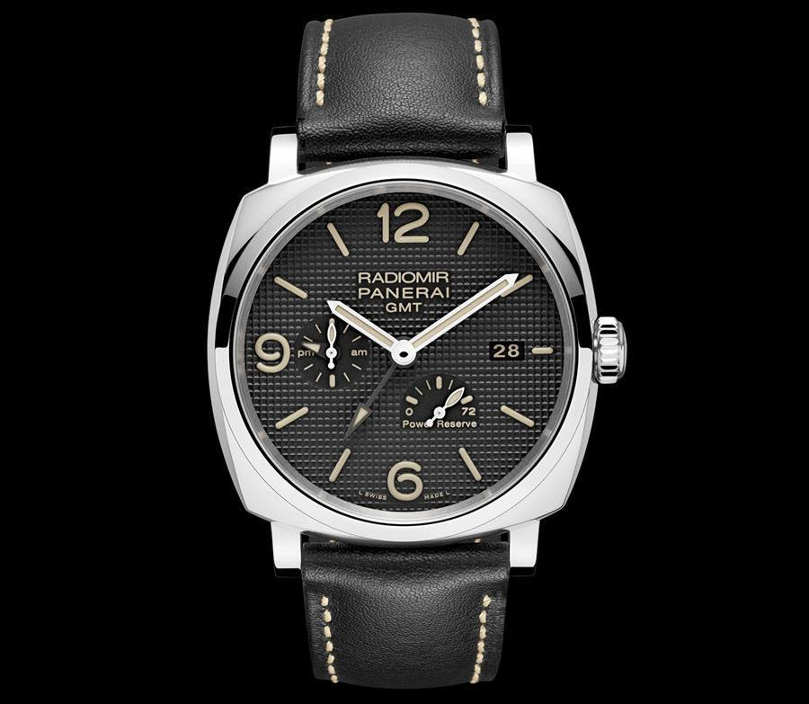 Mit Clous de Paris und schwarzem Band: Panerai Radiomir 1940 3 Days GMT Power Reserve Automatic Acciaio
