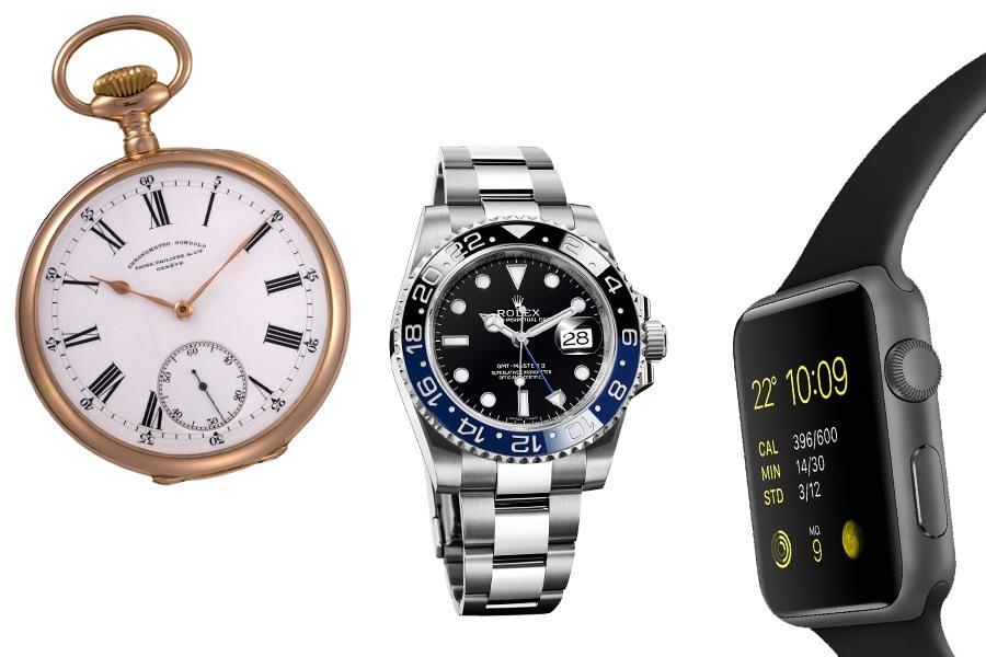 Die Zeitmessung veränderte sich immer wieder: Von der Taschuhr zur Armbanduhr bis hin zur Smartwatch.