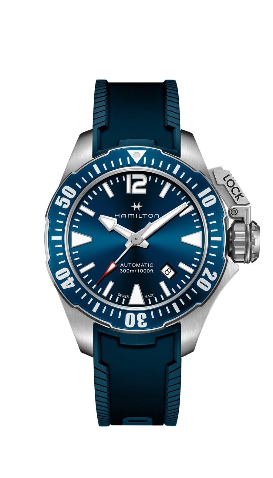 Hamilton: Khaki Navy Frogman in Blau mit Kautschukband