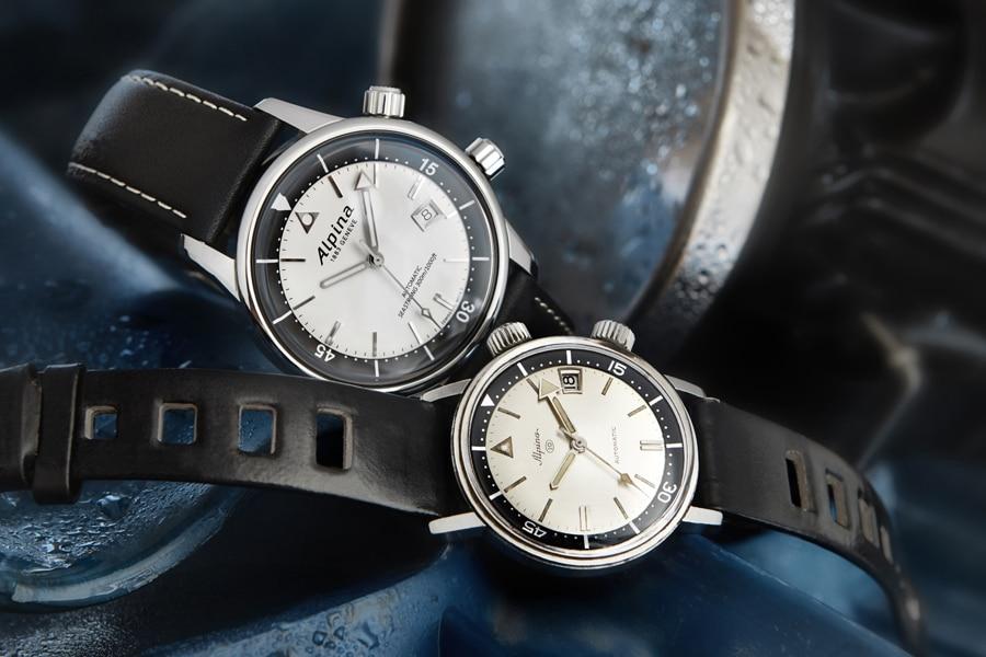 Alpina: Seastrong Diver Heritage (hinten) mit ihrem Vorbild, der Vintage-Uhr Seastrong 10