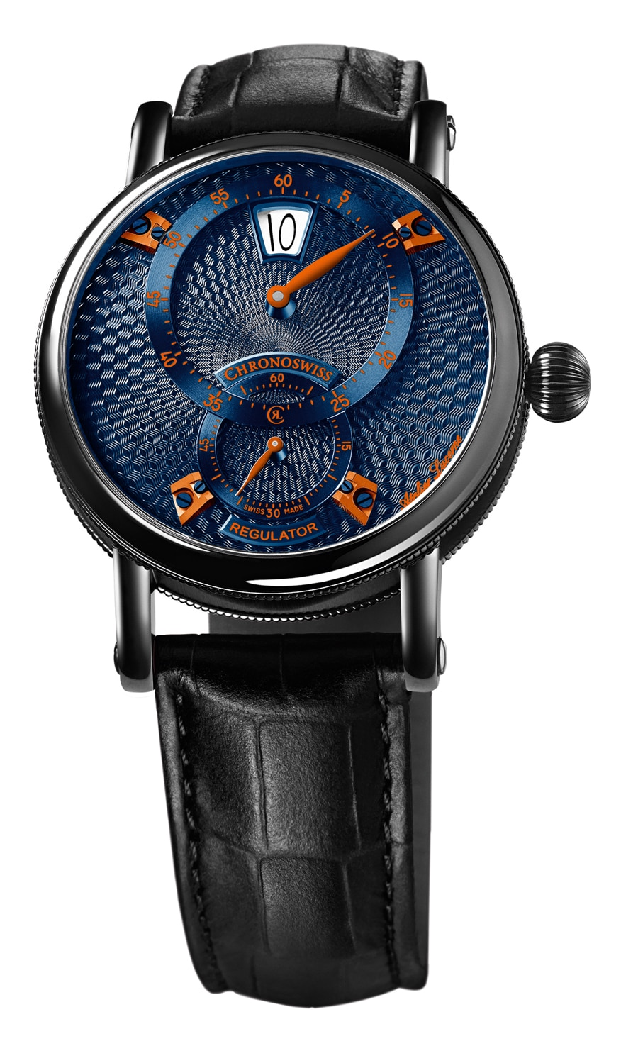 Chronoswiss: Flying Regulator Jumping Hour in schwarz beschichtetem Stahl mit blauem Zifferblatt