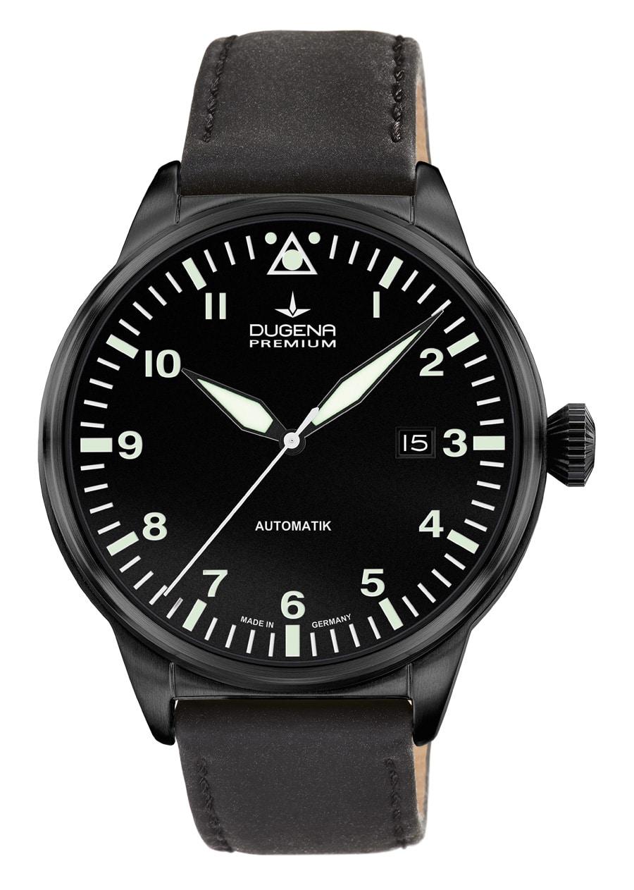 Dugena Premium: Kappa Airtrip schwarz beschichtet mit schwarzem Lederband