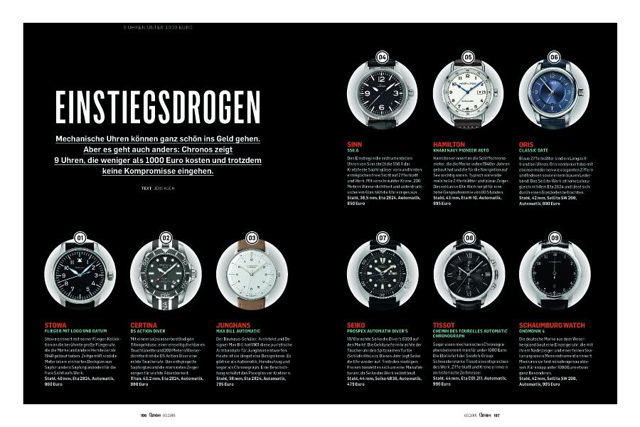 Überblick über Uhren unter 1.000 Euro in der neuen Chronos