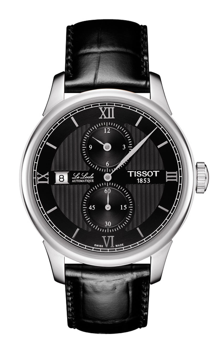 Tissot: Le Locle Regulateur mit schwarzem Lederband