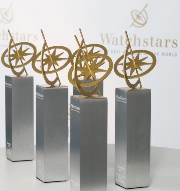 Die Trophäen der Watchstars 2017 vor der Preisverleihung.