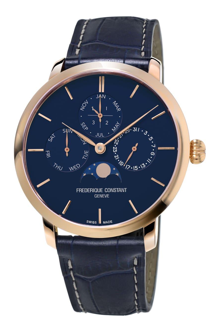 Frédérique Constant: Slimline Manufacture Perpetual Calendar mit Rosévergoldung und blauem Zifferblatt
