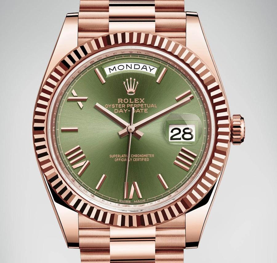Rolex: Oyster Perpetual Day-Date mit 40-Millimeter-Gehäuse und grünem Blatt