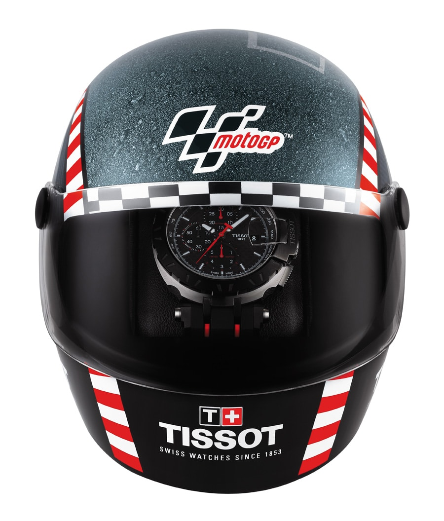 Die Box der Tissot T-Race MotoGP Automatic Limited Edition 2016 hat die Form eines Motorradhelms