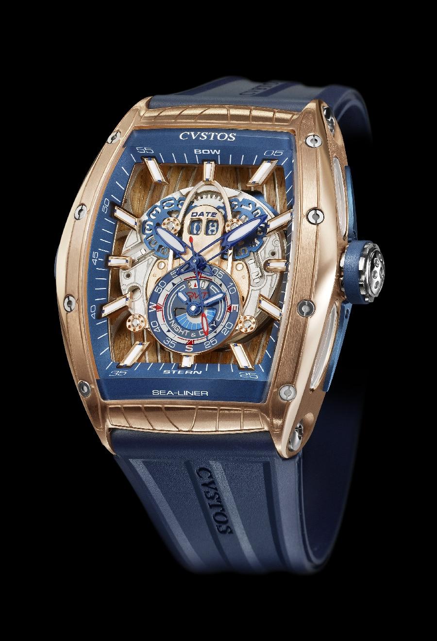 Das springende Großdatum der Custos Challenge Sea-Liner GMT bei zwölf Uhr besteht aus zwei PVD-blau-beschichteten Scheiben.