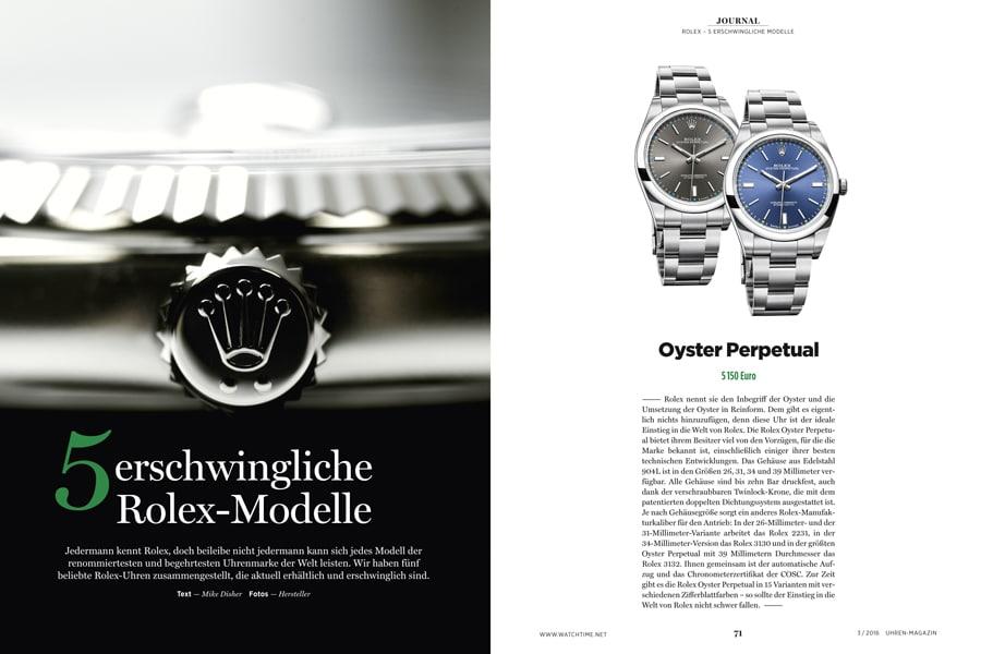 Es gibt Modelle von Rolex, da genügt eine vierstellige Investitionssumme, um an dem Ruhm der Genfer Marke teilhaben zu können.