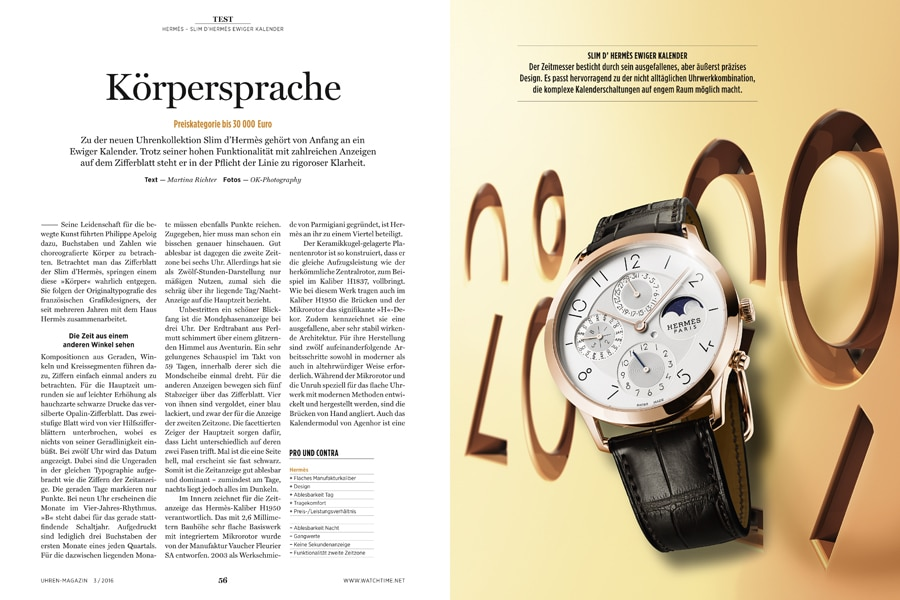 Der Ewige Kalender in der Kollektion Slim d'Hermès besticht nicht nur durch seine eigenständige Typographie auf dem Zifferblatt.