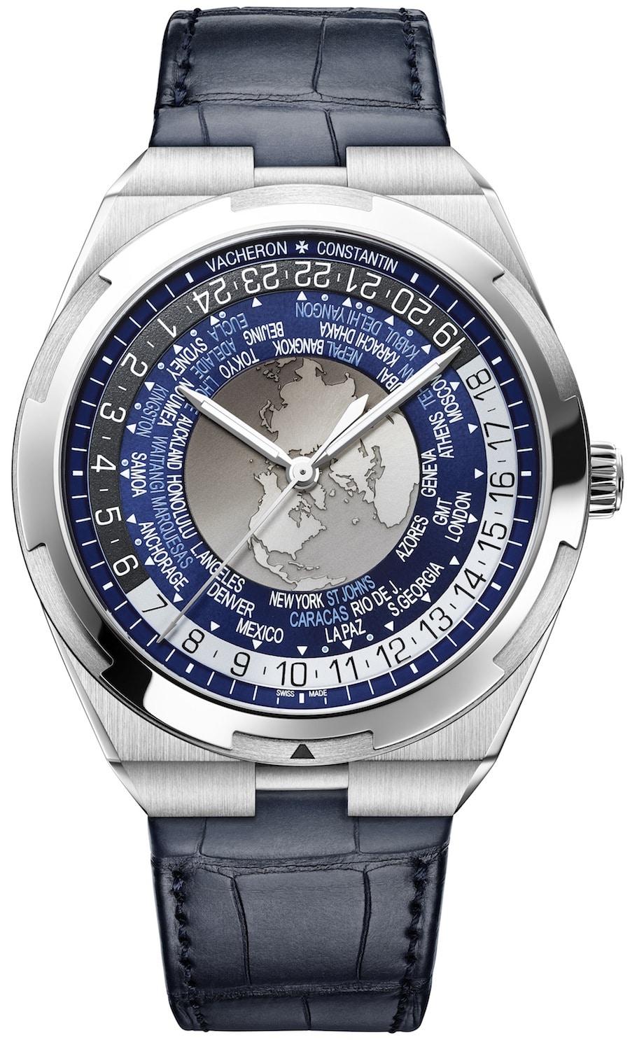 Die World Time Overseas von Vacheron Constantin mit blauem Zifferblatt.
