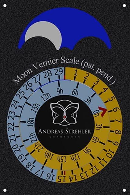 Andreas Strehler: Mondnonius-Anzeige der Lune Exacte, das Mondalter beträgt hier 5 Tage und 18 Stunden