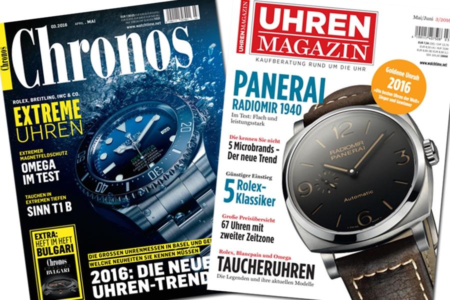 Ein Jahresabonnement der Chronos und des UHREN-MAGAZINS bringt die Freude an der mechanischen Uhr ins Haus.