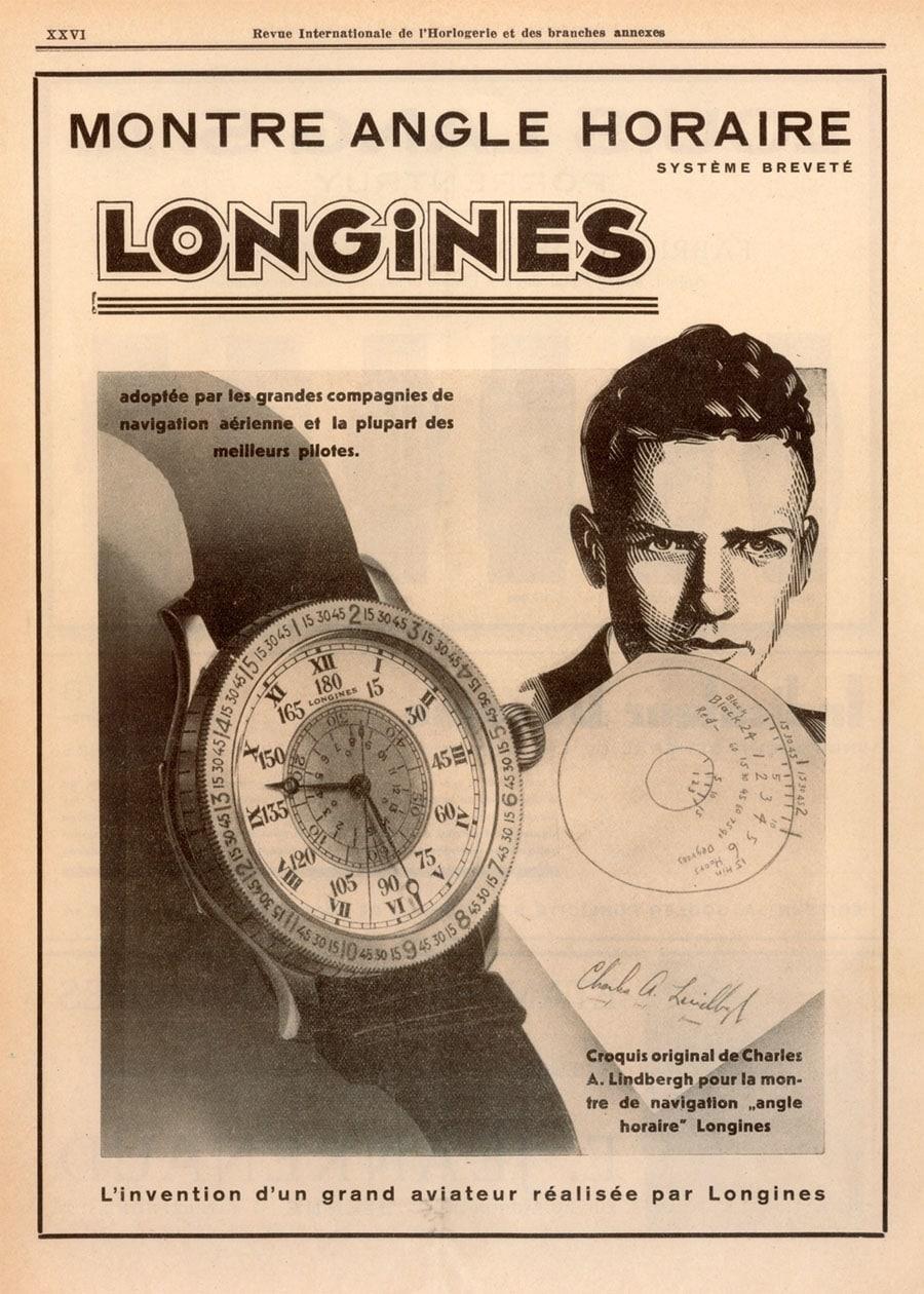 Longines-Anzeige mit Markenbotschafter Lindbergh