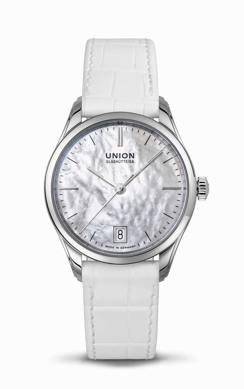 Union Glashuette: Viro Datum Damenmodell mit Perlmuttzifferblatt