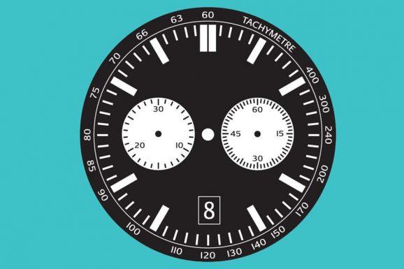 Chronographen-Zifferblatt mit zwei Hilfszifferblättern