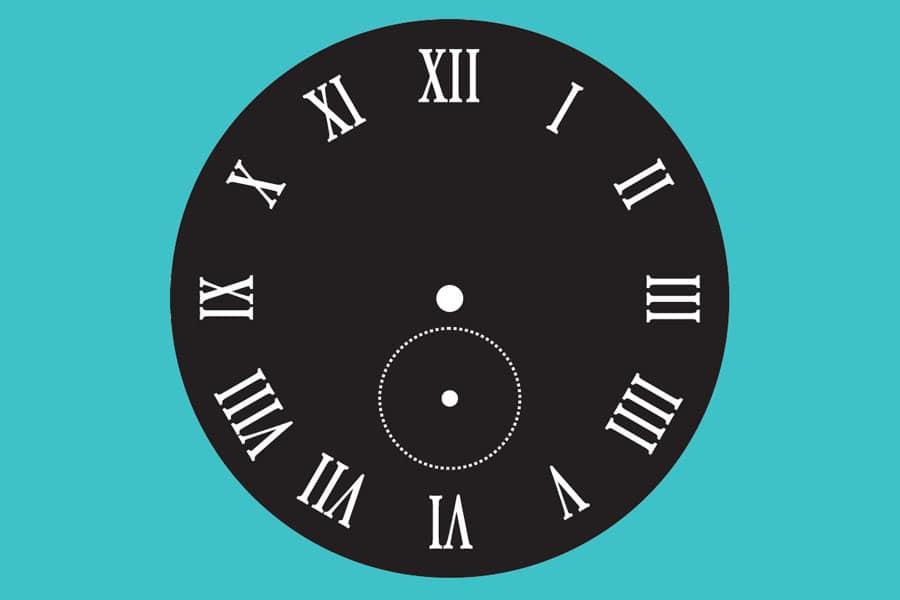 Zifferblatt mit radial angeordneten römischen Ziffern