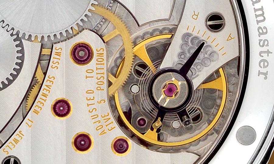 Spiralschlüssel und Rücker an einem ETA/Unitas-Kaliber