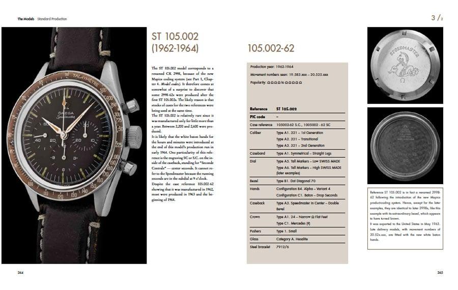 """Auszug aus dem Nachschlagewerk für Omega Speedmaster, das Buch """"Moonwatch Only"""""""